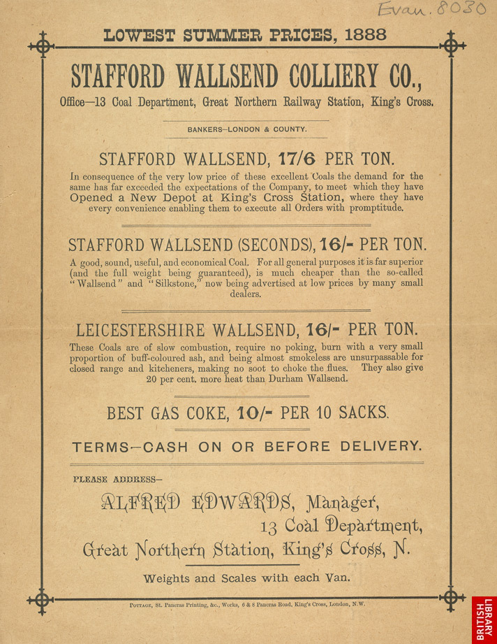 Advert for the Stafford Wallsend Colliery Company
